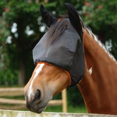 Equilibrium Products Field Relief Midi Fly Mask (With Ears) - Black with Orange Trim