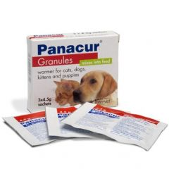 Panacur Granules 22.2% Wormer for Cats, Dogs, Puppies & Kittens 3 x 4.5g